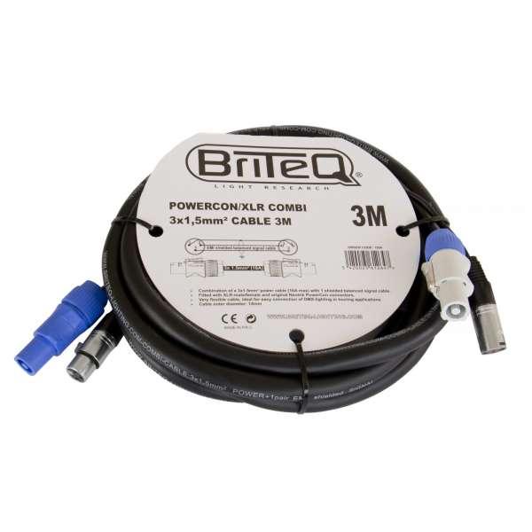 BRITEQ Powercon/XLR Pro Combi Kabel 3m 3x1,5mm²