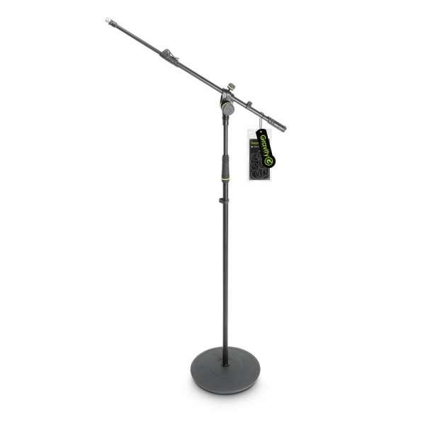 Gravity MS 2322 B Mikrofonständer mit Tellerfuß und 2-Punkt Ausziehgalgen lang