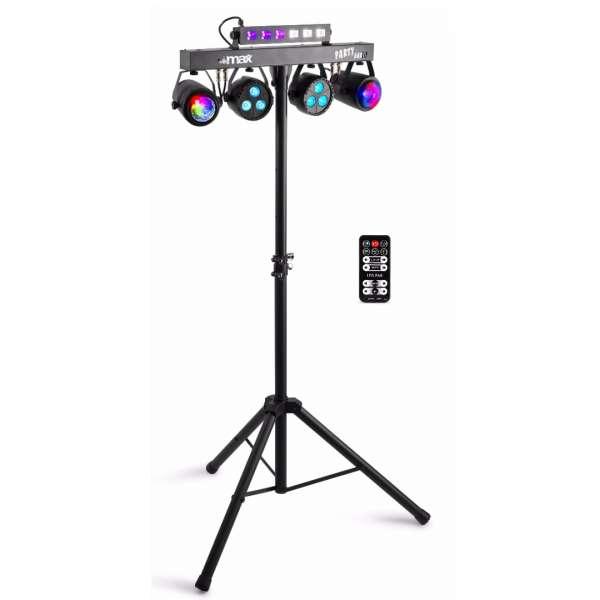 MAX Partybar 10 LED Lichtanlage mit 2 x Jellymoon, 2 x Par und UV-Strobe