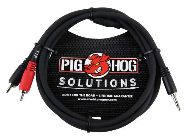 Pig Hog PB-S3R03 Y-Audiokabel, 3,5mm Stereo-Klinke auf 2 x Chinch, 1 Meter (3FT)