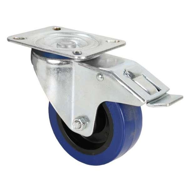 Adam Hall Hardware 372191 Lenkrolle 100 mm mit blauem Rad und Feststeller