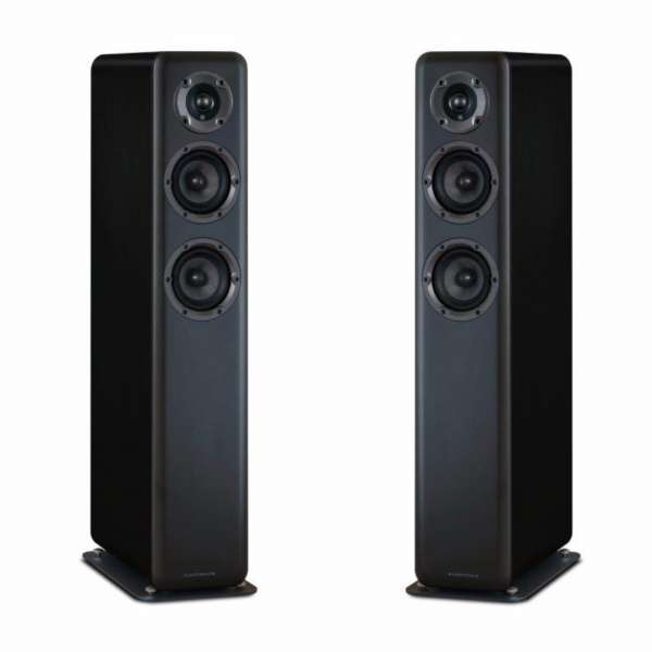 Wharfedale D330 2.5-Wege Lautsprecher (1 Paar Bassreflex Standlautsprecher Black Wood)