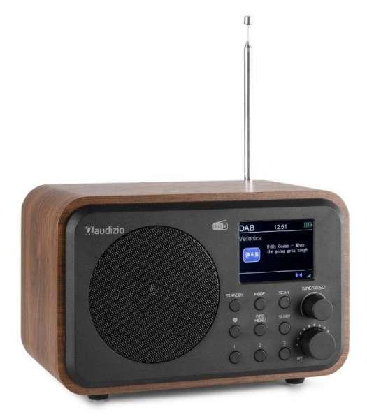 Audizio Milan DAB+ Radio mit Akku braun Holzoptik