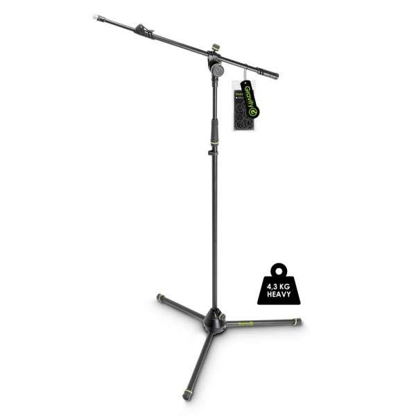 Gravity MS 4322 HDB Schwerer Mikrofonständer mit Dreibein-Klappfuß und 2-Punkt Ausziehgalgen