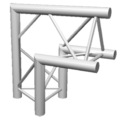 ExpoTruss X3K-30 Alu 3-Punkt 2Weg Winkel 90Grad Spitze oben
