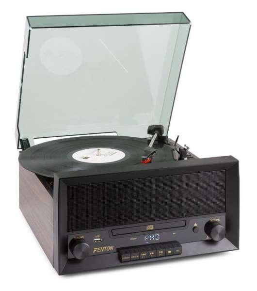 Fenton RP135W Retro Plattenspieler mit CD, USB, Bluetooth und FM-Radio sowie Recording-Funktion