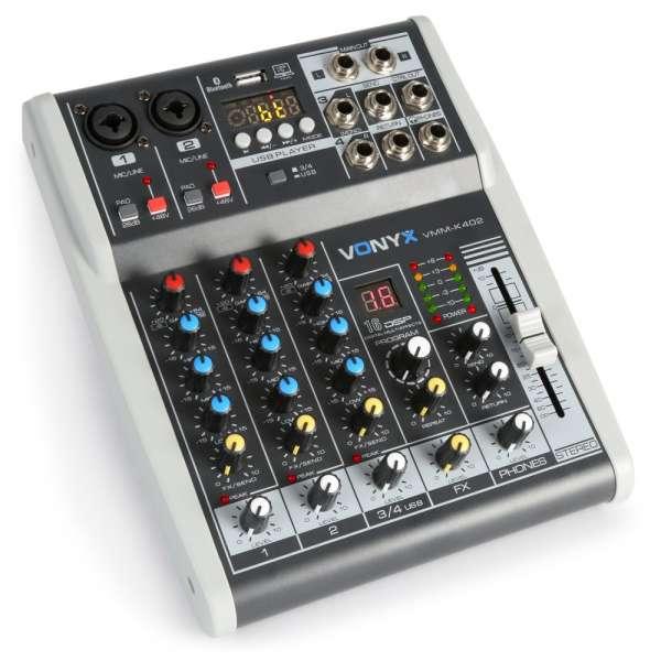 Vonyx VMM-K402 4-Kanal Musik Mixer mit DSP
