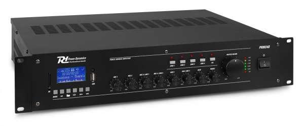 Power Dynamics PRM240 100V 6 Kanal Verstärker mit 4 Zonen und Bluetooth / SD / USB / MP3