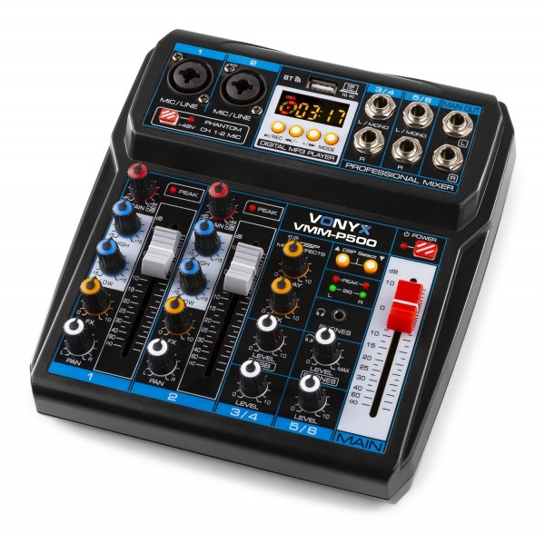 Vonyx VMM P500 Mini Studio Mischpult mit USB-Soundkarte / Bluetooth und Effekten