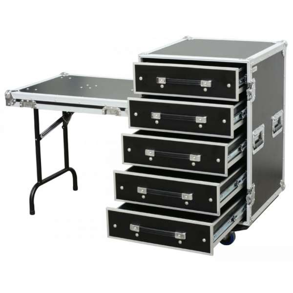 Power Dynamics PD-FA6 5 Drawer 3U Engineer Case + Table