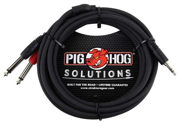 Pig Hog Y-Audiokabel, 3,5mm Stereo-Klinke auf 2 x 6,35mm Mono-Klinke, 1 Meter (3FT)