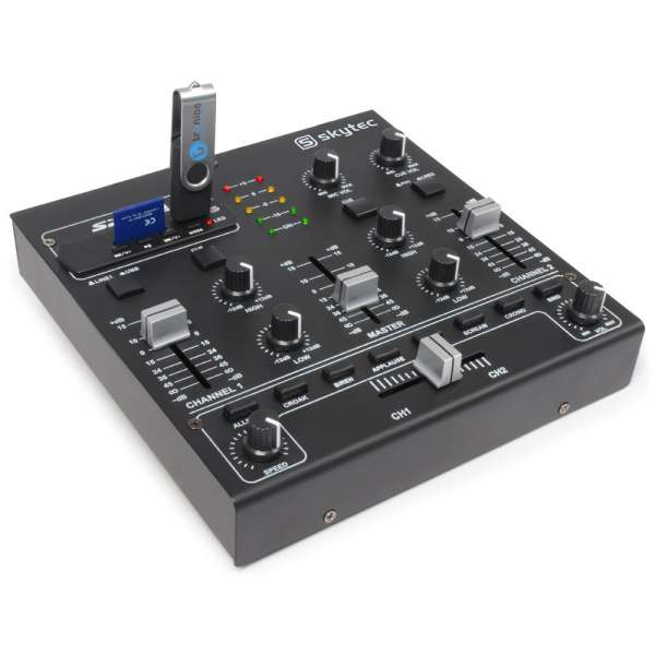SkyTec STM-2250 4-Kanal Mini Mixer Sound Effekte USB MP3