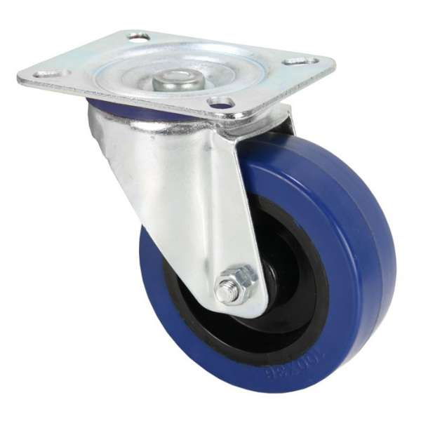 Adam Hall Hardware 372151 Lenkrolle 100 mm mit blauem Rad