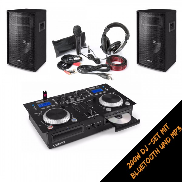 Vonyx DJ Starter Set 200W mit Doppel-Player / Mixer