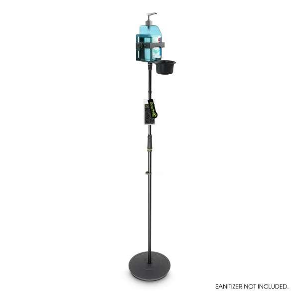 Gravity MS 23 DIS 01 B Höhenverstellbarer Desinfektionsmittelständer mit Universal Halter Schwarz