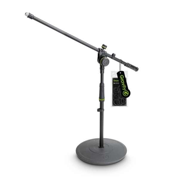 Gravity MS 2221 B Mikrofonständer kurz mit Tellerfuß und 2-Punkt Galgen