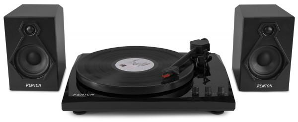 Fenton RP160B Hifi Plattenspieler Set mit Bluetooth und Lautsprechern Schwarz