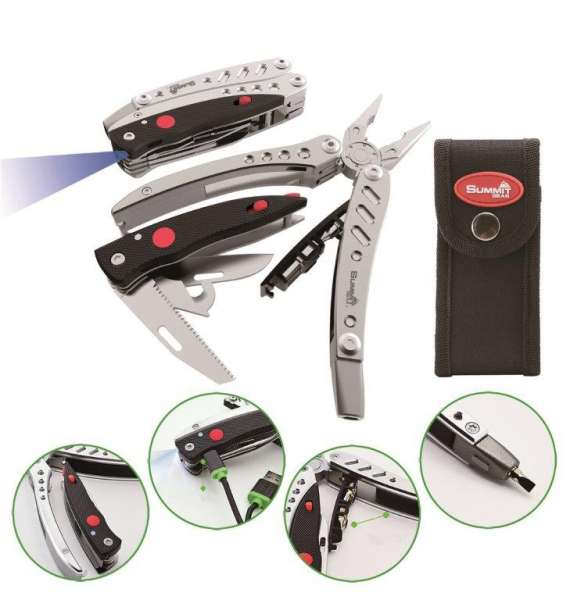 Summit Gear Premium Roadie Multitool D silver mit LED Lampe und Bitsatz